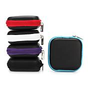 이어폰의 이어 버드 6.5 * 6.5 * 2cm 검은 색 보라색, 파란색, 빨간색, 회색을위한 1 개 미니 지퍼 하드 헤드폰 케이스 PU 가죽 이어폰 가방