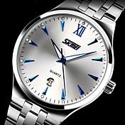 SKMEI Hombre Reloj de Vestir Calendario / Resistente al Agua / Noctilucente Acero Inoxidable Banda Lujo Plata