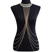 Borla / Crossover Cinturones metálicos / Para Cuerpo / collar arnés Borla, Europeo, Bikini Mujer Dorado Joyería Corporal Para Fiesta / Diario / Casual