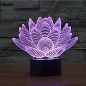 flor de loto táctil oscurecimiento 3d llevó la luz de la noche 7colorful decoración atmósfera lámpara novedad luz de iluminación