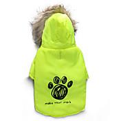 Gatos / Perros Abrigos / Saco y Capucha Verde Ropa para Perro Invierno Flores / Botánica Mantiene abrigado