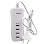 Cargador de Hogar Cargador USB del teléfono Enchufe UE Puertos Múltiples 4 Puertos USB 2A 1A AC 100V-240V Para Teléfono Móvil