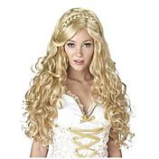 여성 인조 합성 가발 긴 바디 웨이브 금발 땋은머리 가발 아프리칸 브레이드 할로윈 가발 카니발 가발 내츄럴 가발 의상 가발