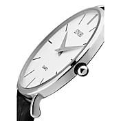 SINOBI Hombre Reloj de Moda Cuarzo Resistente al Agua Resistente a los Golpes Cuero Auténtico Banda Lujo Vintage Minimalista Negro Marrón