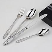 Rustfritt Stål 304 Middagsgaffel / Middagskniv / Teskje / Spesialskje Skjeer / Gafler / Kniver 4 Deler