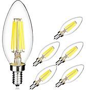 6pcs 5W 560lm E14 Bombillas de Filamento LED C35 6 Cuentas LED COB Blanco Cálido Blanco Fresco 220-240V