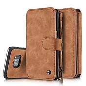 Etui Til Samsung Galaxy S7 edge S7 Kortholder Lommebok Støtsikker Flipp Heldekkende etui Helfarge Hard PU Leather til S7 edge S7 S6 edge
