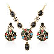Mujer Juego de Joyas Circonita Rubí sintético Lujo Casual Piedras preciosas sintéticas 1 Collar 1 Par de Pendientes