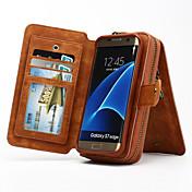 Etui Til Samsung Galaxy Samsung Galaxy S7 Edge Kortholder Lommebok med stativ Flipp Heldekkende etui Helfarge Hard ekte lær til S7 edge