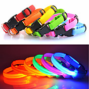 Kat / Hund Krave LED Lys / Justerbare / Uttrekkbar Ensfarget Nylon Blå / Rosa / Regnbue