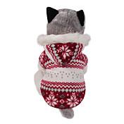 Hund Frakker Hettegensere Hundeklær Snøfnugg Brun Rød Bomull Kostume For kjæledyr Herre Dame Vendbart Hold Varm Jul