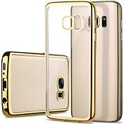 Funda Para Samsung Galaxy Samsung Galaxy S7 Edge Cromado Transparente Funda Trasera Color sólido TPU para S7 edge S7 S6 edge S6