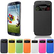 Funda Para Samsung Galaxy Funda Samsung Galaxy con Ventana Flip Funda de Cuerpo Entero Color sólido Cuero de PU para S4
