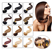 Febay Queratina / Punta en U Extensiones de cabello humano Recto Cabello humano