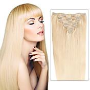 Febay Con Clip Extensiones de cabello humano Recto Cabello humano
