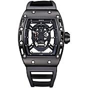 SKONE Herre Quartz Unike kreative Watch Armbåndsur Skjelettur Sportsklokke Vannavvisende Selvlysende Silikon Band Luksus Vintage Kranium