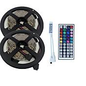 10 m Lyssett 600 LED 3528 SMD RGB Fjernkontroll / Kuttbar / Mulighet for demping 100-240 V / Koblingsbar / Passer for kjøretøy / Selvklebende / IP44