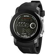 남성용 스포츠 시계 디지털 일본 쿼츠 LED 방수 스톱워치 Plastic 밴드 캐쥬얼 블랙 그린