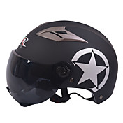 GXT motocicleta M11 medio casco de doble lente de casco protector solar Harley unisex verano adecuado para 55-61cm con lente de espejo té