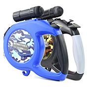 Perro Correas Luces LED Ajustable / Retractable Automático camuflaje Nailon Negro Azul