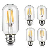 5pcs 4W 360lm lm E26/E27 LED-glødepærer T45 4pcs LED perler COB Dekorativ Varm hvit Kjølig hvit 220V-240V
