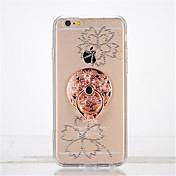 Para Diamantes Sintéticos Soporte para Anillo Manualidades Funda Cubierta Trasera Funda Flor Suave TPU para Apple iPhone 7