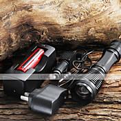 UltraFire LED Lommelygter LED 1800/2000/2200 lm 5 Modus LED med batteri og ladere Zoombare Camping/Vandring/Grotte Udforskning Dagligdags