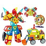 조립식 블럭 마그네틱 블록 마그네틱 빌딩 세트 교육용 장난감 장난감 광장 원형 삼각형 3D 선물 아동 여아 남아 128 조각