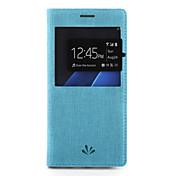 Para Carcasa Funda Soporte de Coche con Soporte con Ventana Cuerpo Entero Funda Un Color Dura Cuero Sintético para Samsung S7 edge S7
