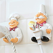 2pcs bastidores de almacenamiento de la línea eléctrica Conjunto de dibujos animados cocinar ganchos de pared de resina de diseño creativo