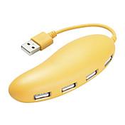 4 포트 USB 2.0 고속 허브 귀여운 노란색