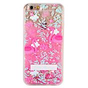 Etui Til Apple iPhone 7 Plus iPhone 7 Flommende væske Mønster Bakdeksel Flamingo Blomsternål i krystall Glimtende Glitter Hard PC til