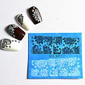 48 Engomada del arte del clavo Etiqueta de transferencia de agua Etiqueta de encaje maquillaje cosmético Dise?o de manicura