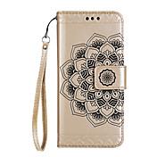 Caso para huawei p8 lite (2017) caso p10 lite cubierta media patrón de flores brillante en relieve piel pu material tarjeta stent teléfono