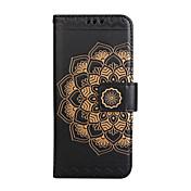 Funda Para Apple iPhone 8 iPhone 8 Plus Soporte de Coche Cartera Flip Diseños En Relieve Funda de Cuerpo Entero Mandala Flor Dura Cuero