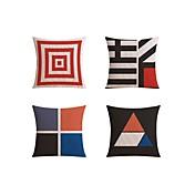 4 PC Lino Funda de almohada Cobertor de Cojín Almohada de cama Almohada de cuerpo Almohada de viaje El amortiguador del sofá,Geométrico