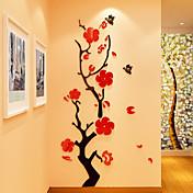 Floral/Botánico Romance Pegatinas de pared Calcomanías 3D para Pared Calcomanías de Cristal para Pared Calcomanías Decorativas de Pared 3D