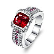 Dame Kubisk Zirkonium / Syntetisk Ruby Band Ring - Sølv Luksus, Vintage 6 / 7 / 8 Rød Til Bryllup / Engasjement / Seremoni