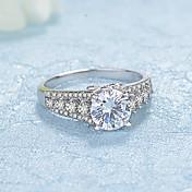 Dame Kubisk Zirkonium Sølv Platin Belagt Band Ring - Rund Elegant Mote Sølv Ringe Til Bryllup Engasjement Seremoni