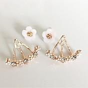 Mujer Pendientes cortos Pendientes elegantes por delante y por detrás Cristal Metálico Personalizado Floral Flor Básico Flores Corazón