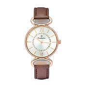 여성용 패션 시계 손목 시계 석영 가죽 밴드 캐쥬얼 화이트 브라운