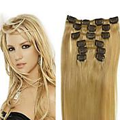 Con Clip Extensiones de cabello humano Cabello natural Corte Recto 7pcs / paquete 18 pulgadas 20 pulgadas 22 pulgadas