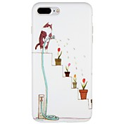 Funda Para Apple iPhone 7 Plus iPhone 7 Congelada Diseños Funda Trasera Gato Flor Caricatura Suave TPU para iPhone 7 Plus iPhone 7 iPhone