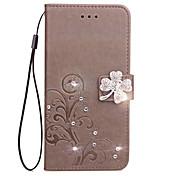 Etui Til Xiaomi Xiaomi Redmi 2 Kortholder Lommebok Rhinstein med stativ Flipp Inngravert Heldekkende etui Blomsternål i krystall Hard PU