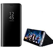 Funda Para Samsung Galaxy A5(2017) A3(2017) con Soporte Cromado Espejo Flip Activación al abrir/Reposo al cerrar Funda de Cuerpo Entero