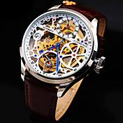 Hombre Reloj Esqueleto / El reloj mecánico Huecograbado / Resistente al Agua Cuero Auténtico Banda Lujo / Cuerda Automática