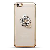 Etui Til Apple iPhone 6 iPhone 6 Plus Rhinstein Belegg Ringholder Gjennomsiktig Bakdeksel Blomsternål i krystall Myk TPU til iPhone 6s