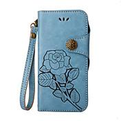 Etui Til Apple iPhone X iPhone 8 iPhone 8 Plus Kortholder Flipp Inngravert Heldekkende etui Blomsternål i krystall Hard PU Leather til