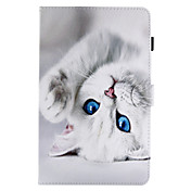 Funda Para Samsung Galaxy Tab Un 9,7 Tab Un 8,0 Soporte de Coche con Soporte Flip Magnética Diseños Funda de Cuerpo Entero Gato Dura