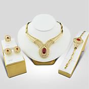 Dame Kubisk Zirkonium Smykkesett - Kubisk Zirkonium, Gullbelagt Vintage, Elegant Inkludere Rød Til Bryllup / Aftenselskap